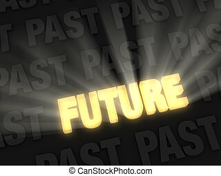 Bright Future Versus Dark Past - Brilliant light rays burst...