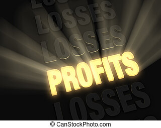 Profits Shine - On a dark background, brilliant light rays...