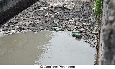 sewage water grabage - Urban city sewage waste water and...