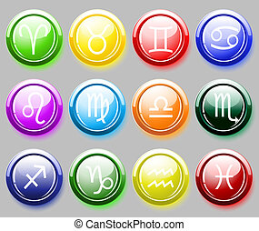 Glossy buttons with zodiac signs - Glossy colore buttons...