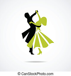 Dancing couple isolated on a white background - Silhouette...