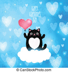 Happy Valentines Day card with cat - Happy Valentines Day...