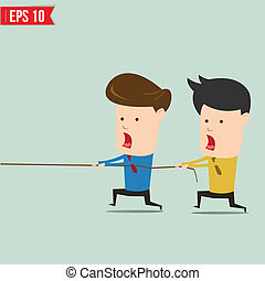 Two businessmen playing tug of war