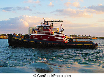 Tugboat in Port Everglades - View of Tugboat in Port...