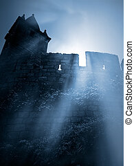 Mysterious medieval castle - Moonlit gothic scenery with...