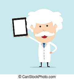Professor hold touch screen device