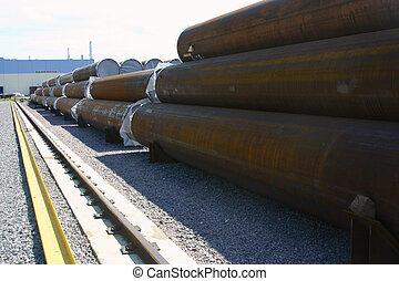 tubos, finished-products, almacenamiento, área