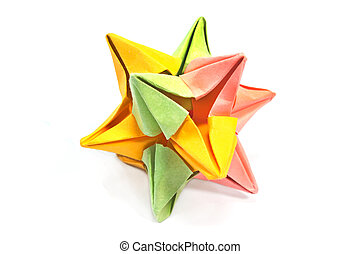 Paper colorful origami star isolated on white