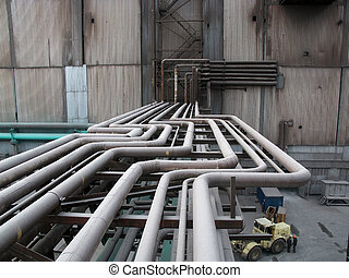 Above-ground pipeline on the factory - Factory heat supply...