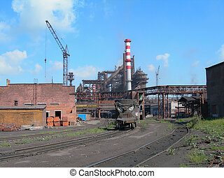 Metallurgical works with blast furnaces, chimney flue and...