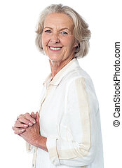 Portrait of smiling attractive old woman