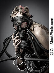 Toxic, gas mask, Female model, evil, blind, fallen angel of...
