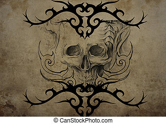Tattoo skull over vintage paper, black tribal tattoos