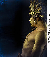Greek Olympian god, deity, concept, man with golden mask