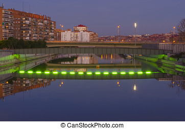 bridge over manzanares at night - One of the numerous...