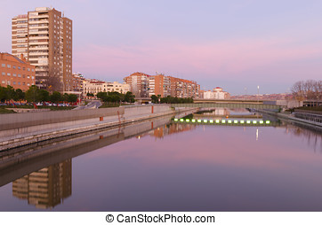 madrid rio in the morning - View of the river manzanares at...