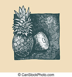 pineapple - Vector illustration of a pineapples stylized as...
