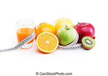 Healthy Eating - Healthy Lifestyle. Orange juice, apple, and...