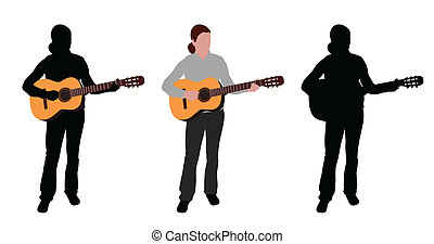 woman playing acoustic guitar silhouette and illustration -...