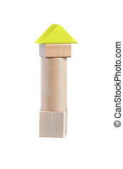 Childhood toy - Small tower built from wooden blocks toy....