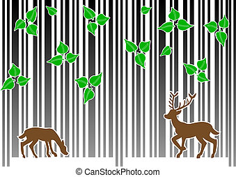 barcode forest - vector illustration of a barcode forest on...