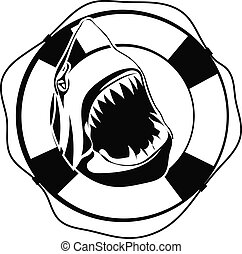 Shark in Lifebuoy on a white background
