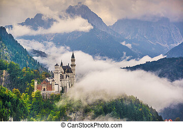 Neuschwanstein Castle - Neschwanstein Castle in the Bavarian...