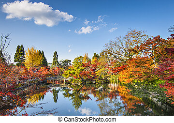 Kyoto, Japan at the pond and bridge of Eikando Temple in the...
