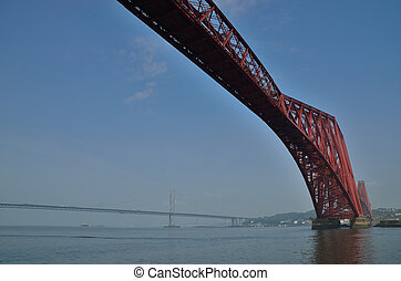 queensferry forth bridge - port of queensferry scotland with...