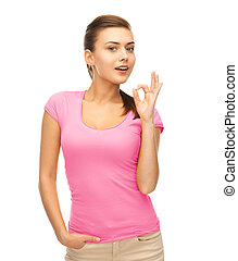 woman in blank pink t-shirt showing ok gesture - clothing...