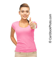 woman in blank pink t-shirt showing thumbs up - clothing...