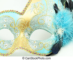 Mardi Gras Mask - Close up of a Mardi Gras mask with jewels...