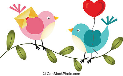 Lovely Birds with Balloon