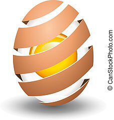 Abstract egg with yolk on white background
