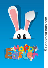 Happy Easter Greeting Card with Cartoon Rabbit vector...