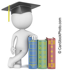 Knowledge - Dude the Student with hat leaning against Books...