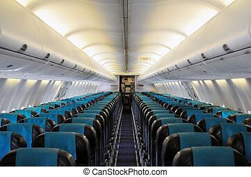 Interior of a passenger airliner - Empty passengers\' cabin...