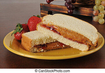 Peanut butter and jam sandwich - A peanut butter and...