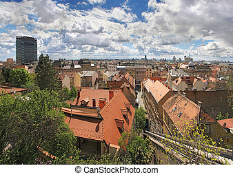 Cityscape of Zagreb - Zagreb lower town panoramic view, The...