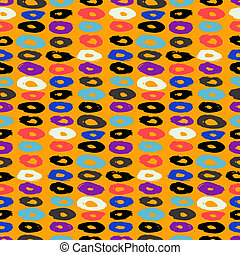 Hipster style multicolor vector pattern with doughnut like...