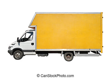 Cargo Truck - Blank white yellow truck isolated on a white...