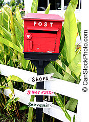 Red letter boxes. - The Red letter boxes Front of the house.