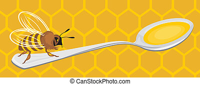 Bee on the honeycomb background Vector illustration