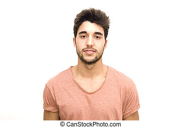 Handsome guy with beard on white background
