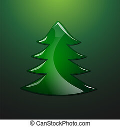 Fir tree with glass effect. Vector illustration