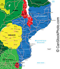 Mozambique map - Highly detailed vector map of Mozambique...