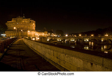 Castel Sant\' Angelo - famous Castel Sant Angelo in Rome at...