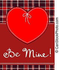 Heart in stitched textile style. Vector red heart textile...