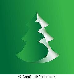 Paper fir tree. Vector illustration