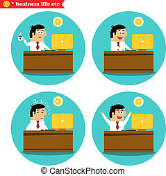 Office worker at the desk - Business life. Office worker at...